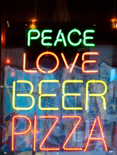 PEACE LOVE BEER PIZZA